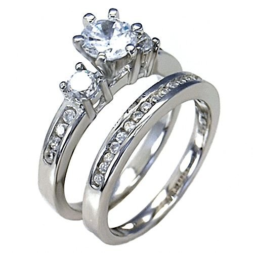 Amazon Sterling Silver 131ct Russian Ice On Fire CZ 2 Pc Wedding Ring Set Lakoda Engagement Rings For Women Jewelry