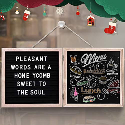 20'' x 10'' Felt Letter Board - 10'' x 10'' Letter Board & 10'' x 10'' Chalkboard with 340 White Letters, Wood Frame, Message Board with Letters for Education, Decoration -