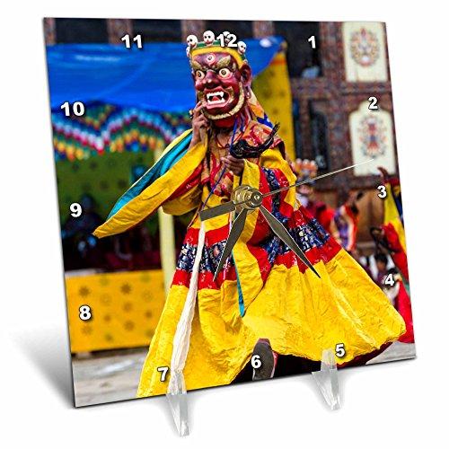 3dRose Danita Delimont - People - Asia, Bhutan, Gangtey Gonpa Tshechu. Dance of the Furies. - 6x6 Desk Clock (dc_257042_1) by 3dRose (Image #1)