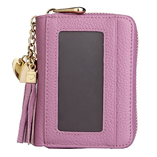 ZORESS Women's Credit Card Wallet Rfid Blocking Genuine Leather Credit Card Holder Case (Purple)