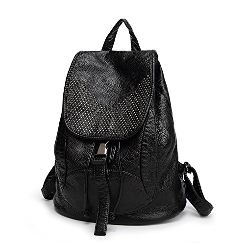 Washed Leather Backpack Soft Leather Backpack Large Capacity Bag College Wind Black2