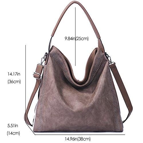 Handbags for women Hobo PU Leather Shoulder Satchel Bags Top-handle Large Capacity Purse Rivets Grey Brown by JOYSON (Image #3)