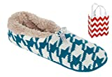 Mixit Womens Bootie Slippers 1 Pair & Bag Multi-Pack Gift Set (Houndstooth/Teal, M/L - Shoe Size: 9-10)