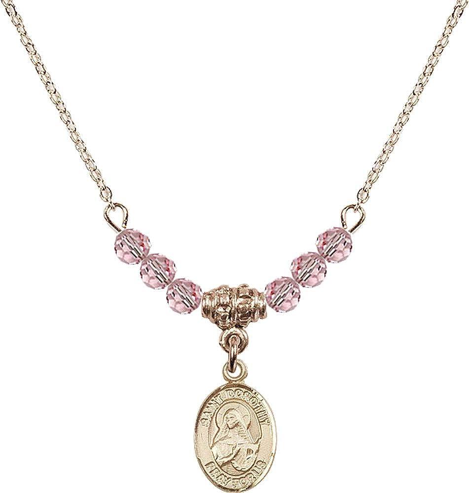 Bonyak Jewelry 18 Inch Hamilton Gold Plated Necklace w// 4mm Light Rose Pink October Birth Month Stone Beads /& Saint Pio of Pietrelcina