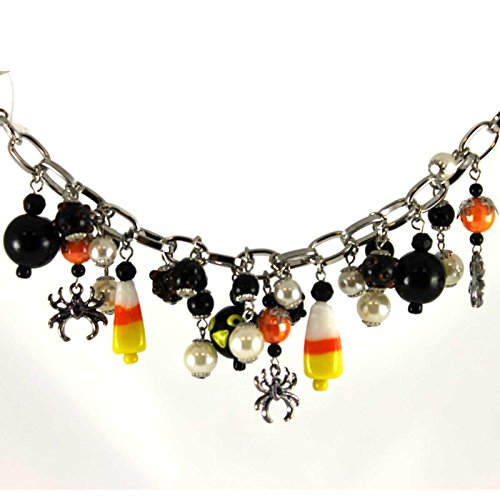 Halloween CANDY CORN AND CROWS BRACELET Glass Metal Beads Silvestri 20081702]()