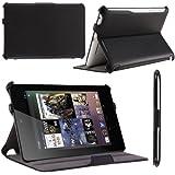 i-Blason Auto Sleep / Wake Google Nexus 7 Inch Tablet PC Slim folio Case With Built in Stand Hard Back Cover 8GB 16GB (Black)