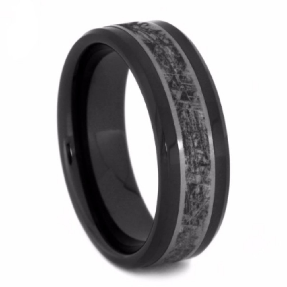 Black Ceramic, Mimetic Meteorite 8mm Comfort-Fit Matte Titanium Wedding Band, Size 10.5 by The Men's Jewelry Store (Unisex Jewelry)