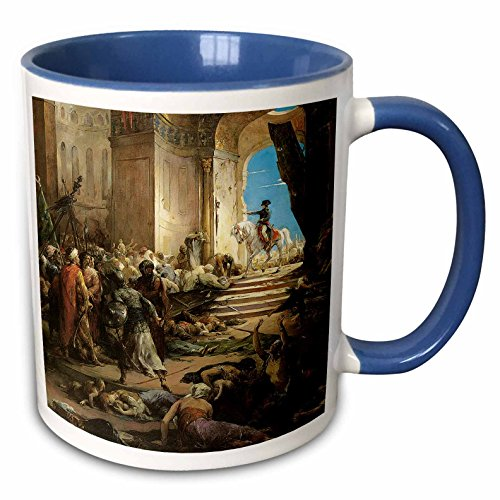 Bonaparte Collection - 3dRose BLN Middle Eastern and Northern African Fine Art Collection - Bonaparte in the Great Mosque of Cairo by Henri-Leopold Levy - 15oz Two-Tone Blue Mug (mug_127463_11)