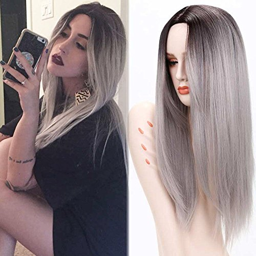 Price comparison product image Synthetic Ombre Wigs for Women Girl, Beshiny Two Tone Black Roots Natural Long Straight Heat Resistant Synthetic Hair Wigs with Wig Cap (Grey)