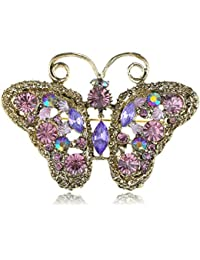 Soft Golden Tone Purple Rhinestones Cutout Butterfly Insect Brooch Pin