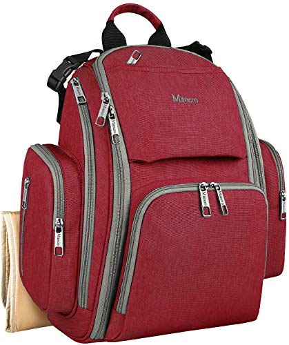 Diaper Bags for Girls, Large Capacity Multifunction Waterproof Travel Backpack Nappy Bags for Baby Care with Stroller Straps, Changing Pad & Insulated Pocket, Great Quality, Stylish and Durable, Red
