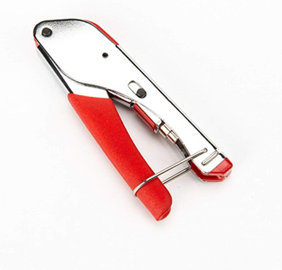 Pinza de extrusi/ón de cable coaxial Engarzadores de alambre Herramienta de compresi/ón de alicates de prensado para conector coaxial F RG6 RG5 Rojo y plata