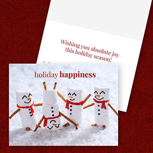 Marshmallow Snowmen Holiday Card Pack - Set of 25 cards - 1 design, versed inside with envelopes Photo #4