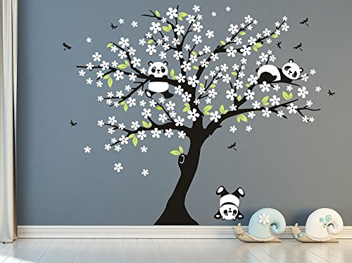 MAFENT Tree Wall Decals for Kids Room with Three Little Panda Bears Wall Stickers Nursery Wall Decals Room Decoration (White)