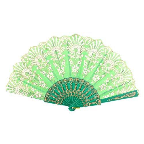 eDealMax Mariée Parti Plastique Rib imprimé Fleurs pliant Éventail vert