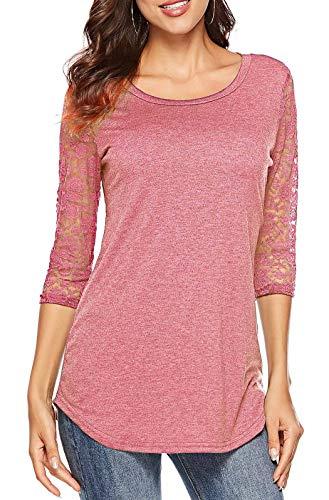 (Koitmy Women's 3/4 Lace Sleeve Round Neck T-Shirt Casual Blouses Tunics)