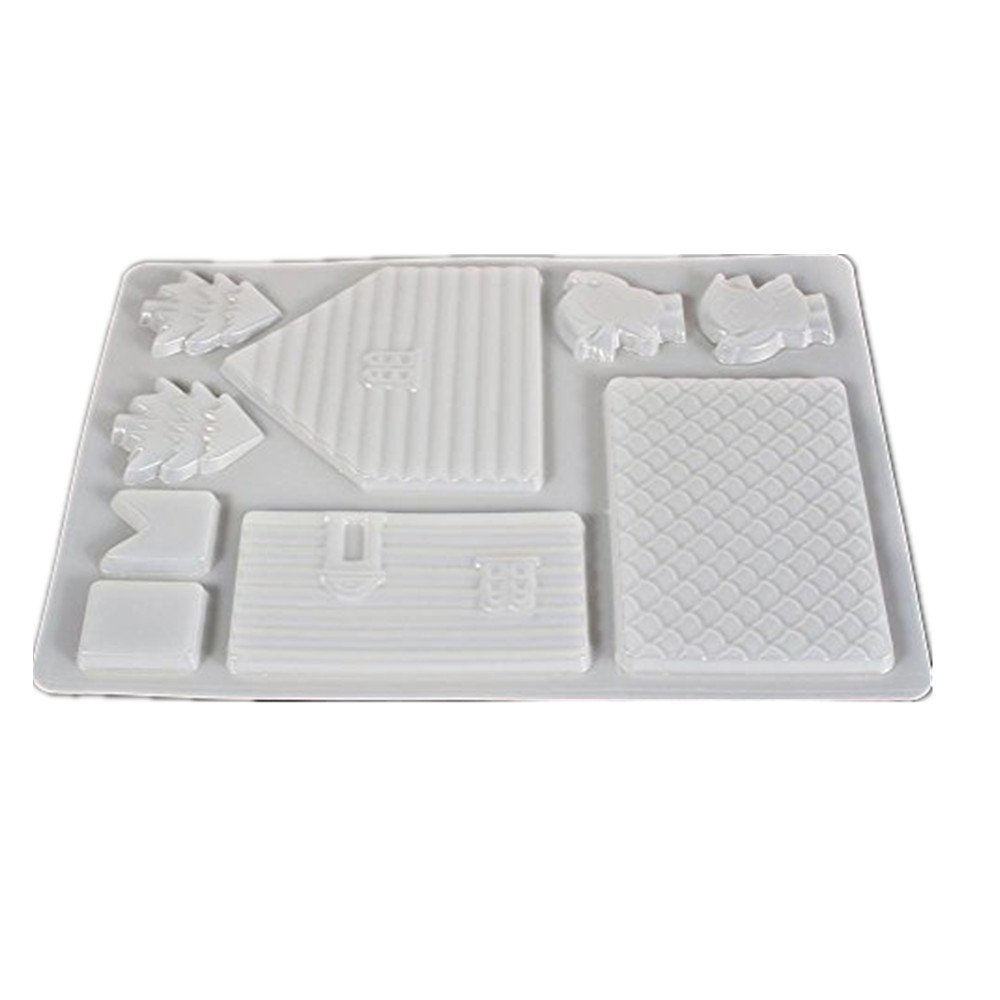 GLOGLOW 3Pcs Silicone Ice Mould Set,Christmas Gingerbread House Silicone Chocolate Cake Jelly Candy Mould,Easy Cleanup - BPA Free, Food Grade Silicone
