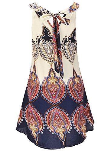 Mujeres Lady Summer Holiday Boho Halter Cuello Gasa vestido corto de playa