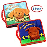 ToBeReadyForLife Cloth Book Baby Soft Books Two Pack Newborn Babies, 1 Year Old & Toddler, Educational Toy Boy & Girl, Touch Feel Activity, Crinkle Peekaboo, Shower Gift Box