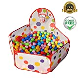Foldable Children Toddlers Ball Pit Tent Sea Ball Pool Toy with Basketball Hoop and Zippered Storage Bag by S.K.L, 4 Ft/120cm (Balls Not Included)