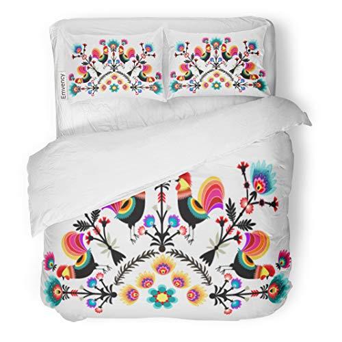 Semtomn Decor Duvet Cover Set King Size Polish Folk Pattern from Poland Flower Floral Culture Branch 3 Piece Brushed Microfiber Fabric Print Bedding Set Cover -