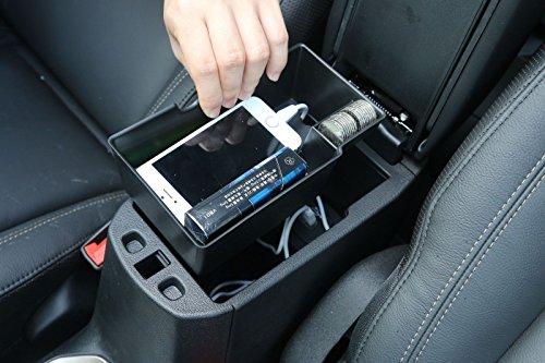 FMtoppeak Black Car Armrest Storage Box for Jeep Renegade 2015Up 1pcs