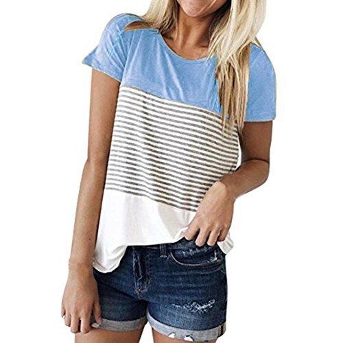 CUCUHAM Women Short Sleeve Triple Color Block Stripe T-Shirt Casual Blouse (XL, Blue (Womens Wool 2 T-shirt)