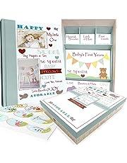 Baby Memory Book w/ Keepsake Box & 30 Monthly & Baby First Milestone Stickers - Gender Neutral Scrapbook Album for Boys & Girls