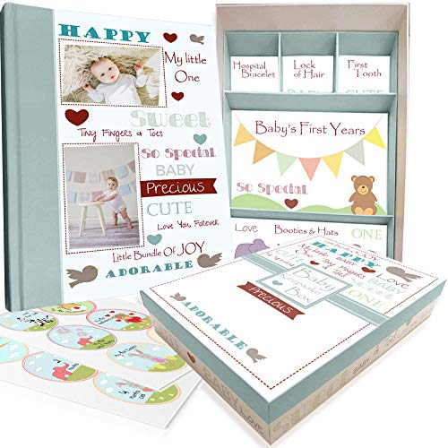 Baby Memory Book w/Keepsake Box & 30 Monthly & Baby First Milestone Stickers - Gender Neutral Scrapbook Album for Boys & Girls ()