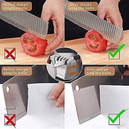 McNory Afilador de Cuchillos Profesional, 4 en 1 Knife Sharpener, Afilador Cuchillos Manuales de Cocina de 4 Etapas Afilado Pulido para Afilar Navajas y Tijeras de Embotados Muy Afilados