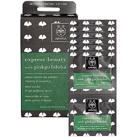 Apivita Express Beauty Dark Circles and Eye-Puffiness Mask with Gingko Biloba 6 count