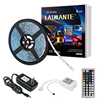 Laimante Led Light Strip Kit Waterproof 16.4ft/5m 5050 150LEDs, 12V DC RGB led strip, Led Ribbon, Led Tape Light, Stronger 3M Sponge Adhesive Tape with Remote Controller and UL Listed Power Supply for Home Kitchen Car Room Decoration Lighting