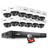 ANNKE 16CH 2.0MP 4K Power over Ethernet 6.0MP NVR Security System with 2TB Hard Drive and (12) 1080P 1920TVL Weatherproof Network Outdoor IP Cameras, IP66 Weatherproof with 100ft Night Vision