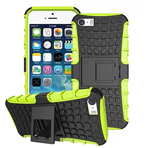 DStores iPhone 6 plus/6s Plus 5.5 inch Case, Green Heavy Duty Shockproof Dual Layer Hybrid Armor Impact Resistant Hard Case With Kickstand - Hard Medium Dark Green