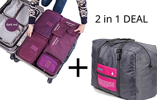 Arpiel - Travel Duffel Bag Foldable and 6 Set Travel Organizer - for Men and Women - Large Packing Cubes Insert Handbag Organizer - for Clothes, Electronics, Cosmetics, Jewelry, Accessories, Souvenirs (Burgundy) from Arpiel