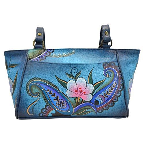 Anna by Anuschka Genuine Leather Small Tote Handbag | Hand-Painted Original Artwork | Denim Paisley Floral