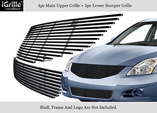 Fits 2010-2012 Nissan Altima Sedan Stainless Black Billet Grille Combo #N81057J - Nissan Altima Billet Grille