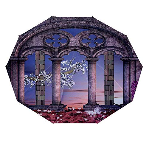 - 10 ribs multi-function automatic on/off - sun protection - rainproof - windproof umbrella, theme - Gothic Ancient Colonnade in Secret Garden with Flowers at Sunset Enchanted Forest Grey Blue