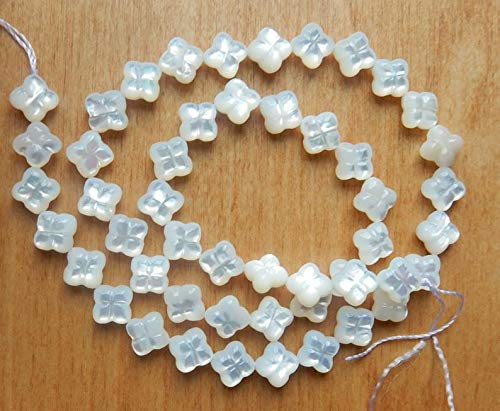 Jewelry Making Supplies - 12pcs 8mm White, Carved Mother of Pearl, Clover Beads, Flower Beads, Mother of Pearl Flower Beads, Small and Cute, Quatrefoil Beads - Perfect and Stunning - Beads Quatrefoil