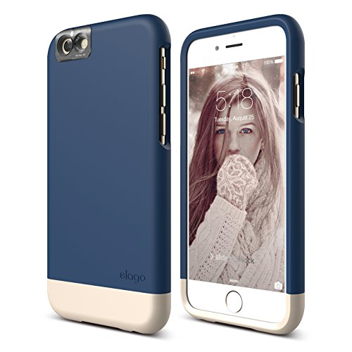 iPhone 6S Case, elago [Glide Cam][Jean Indigo/Champagne Gold] - [Mix and Match][Premium Armor][True Fit] - for iPhone 6S Only