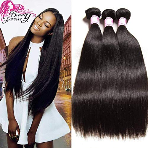 Beauty Forevr Hair Brazilian Virgin Straight Hair Weave 3 Bundles 100% Unprocessed Human Hair Extensions Natural Color Can Be Dyed and Bleached (18 20 22) (Best Beauty Supply Virgin Hair)