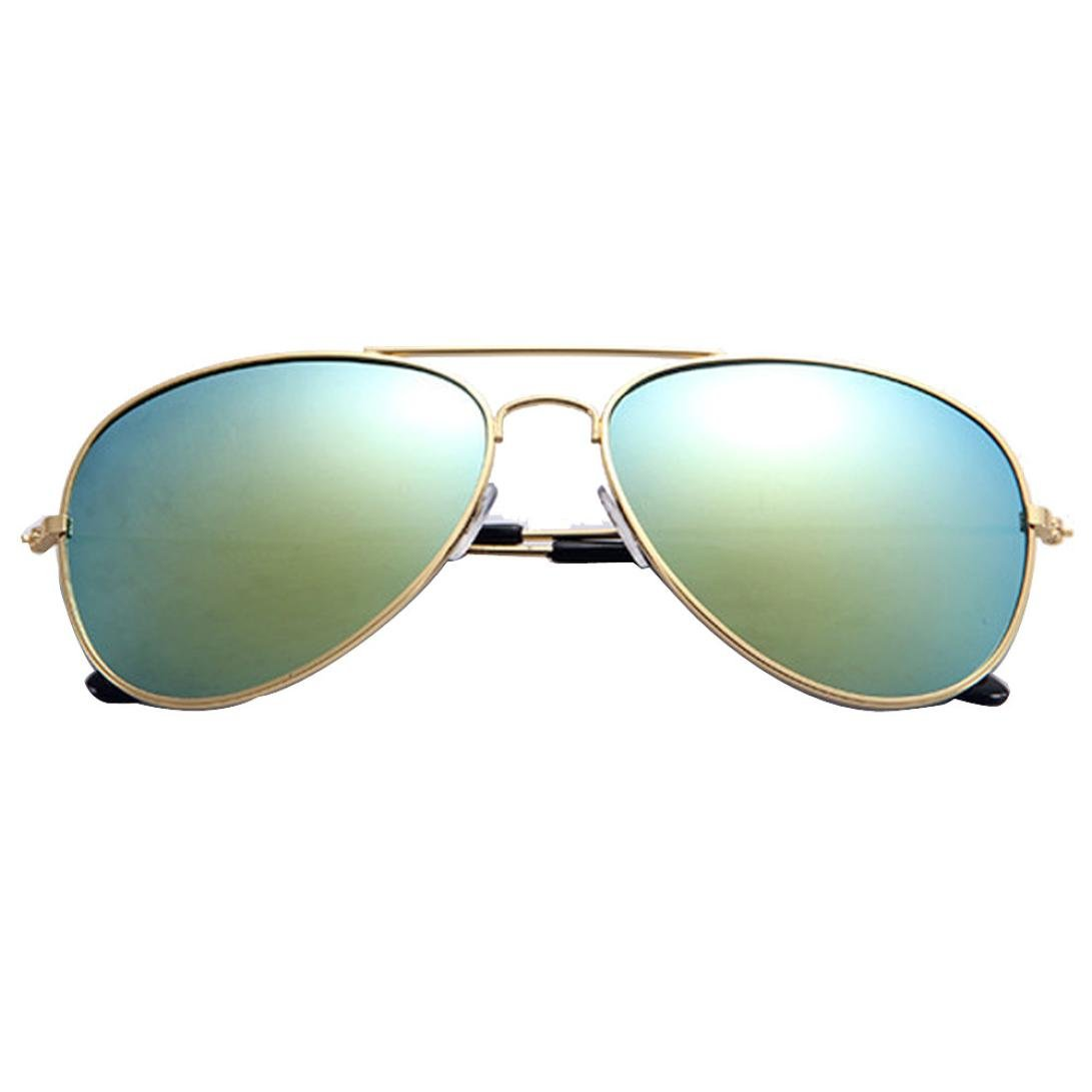 Sonmer Men Women Fashion Classic Twin-beams Metal Frame Anti-UV Sunglasses (Gold/Gold)