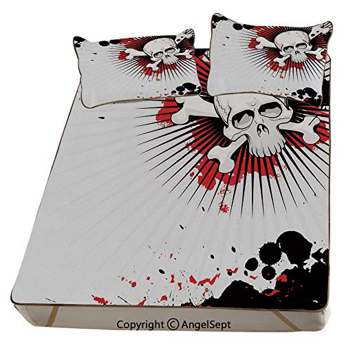 Halloween,Summer Cooling Mat 3D Printing Foldable Folding Summer Ice Silk Cover Cool Mat with Pillowcase(Queen) Skull with Crossed Bones Over Grunge Background Evil Scary Horror Graphic]()