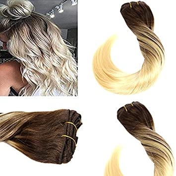 Amazon Com Vesunny 18inch Clip In Bleach Blonde Hair Extensions
