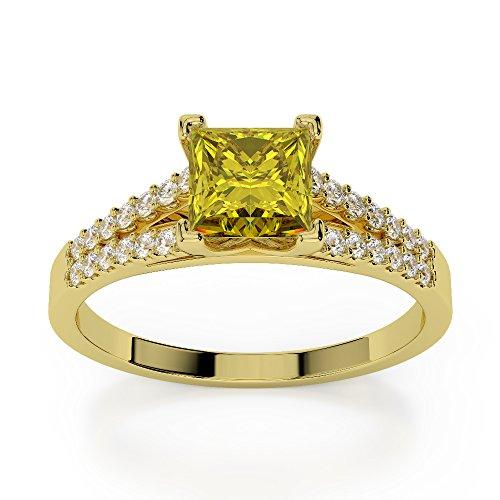 Or jaune 18carats 1CT G-H/VS sertie de diamants taille princesse Saphir Jaune et bague de fiançailles Agdr-1211
