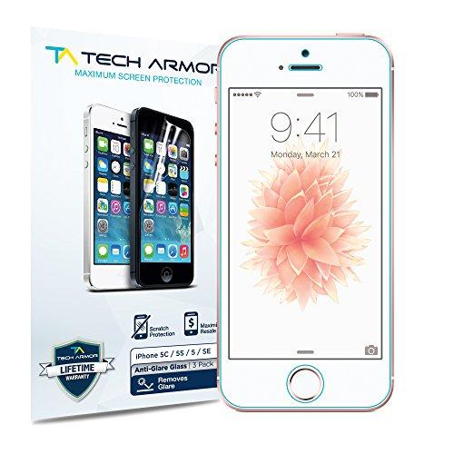 iPhone 5 Screen Protector, Tech Armor Anti-Glare/Anti-Fingerprint Apple iPhone 5C / 5S / 5 / SE Screen Protectors [3-Pack] 5c Shield
