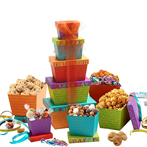 Broadway Basketeers Birthday Celebration Gift Tower, Snack Box, Candy, Toffees, Chocolates, Cookies, and Popcorn, Kosher…