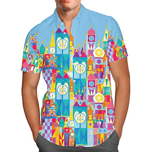 - Its A Small World Disney Parks Inspired Mens Button Down Short Sleeve Shirt - 3XL