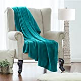 Clara Clark Twin Fleece Super Soft Warm Fuzzy Plush Couch Blanket, Extra Soft Brush Fabric, Lightweight Super Warm Bed Blanket (66-Inch-By-90-Inch) Teal, By