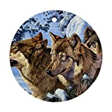 Wolf pack Ornament round porcelain Christmas Great Gift Idea